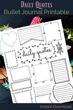 Stay inspired ~ Daily quotes bullet journal printable. Instant download bujo page. Planner insert for inspiration #affiliate #bulletjournalpages #bujoprintables #plannerinsert #journal #quotes #inspiration