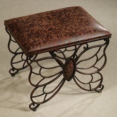 Flights of Fancy Butterfly Upholstered Accent Stool