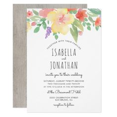 Rustic Watercolor Flowers & Typography | Wedding Card - invitations custom unique diy personalize occasions