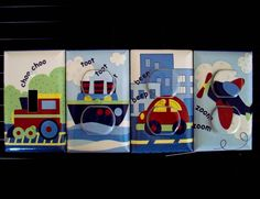 Transportation Light Switch Cover / Outlet Covers Train Boat Plane Car Travel Time Nursery Decor Boy. $31.00, via Etsy.