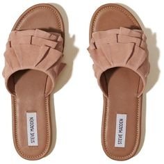 Hollister Steve Madden GETDOWN Slide Sandal ($40) ❤ liked on Polyvore featuring shoes, sandals, flats, pink, flat pumps, slide sandals, pink flats, ruffle shoes and synthetic shoes
