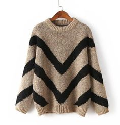 Chic Large V Round Neck Pullover Striped Waves Thick Loose Sweater Coat