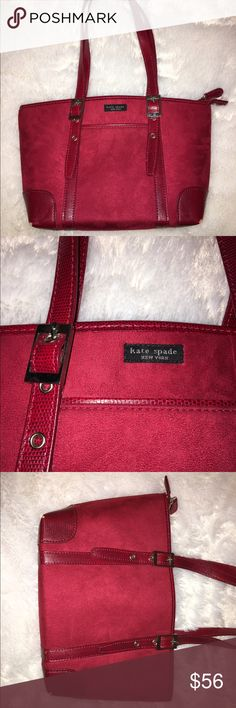 🎇SALE🎇 Red KATE SPADE Purse, Velvet Bag Stunning deep red Kate Spade purse! Adjustable strap lengths, outside front pocket, inside front zipper pocket along with 2 inside pouches. Smooth, soft velvet on the outside with snakeskin patterned accents. The only slight wear is on the bottom corners of the bag. Other than that, it's in fabulous condition. The inside is clean and the straps are sturdy. Great handbag for many occasions! kate spade Bags Shoulder Bags