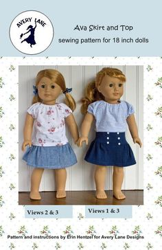 18 inch doll clothes sewing pattern NEW Ava Skirt and por AveryLane