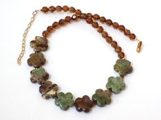Jasper Necklace and Earrings for Women, Green Necklace for Women, Gemstone Necklace, Swarovski Crystal Jewelry, Handcrafted jewelry #handmade #jewelry