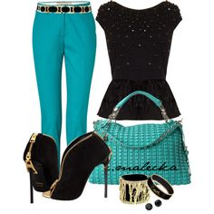 """Black and teal lady"" by eva-malecka on Polyvore"
