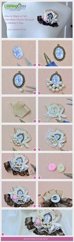 How to Make Cheap Lolita Brooches with Lace Trim and Pearl Beads from LC.Pandahall.com     #pandahall