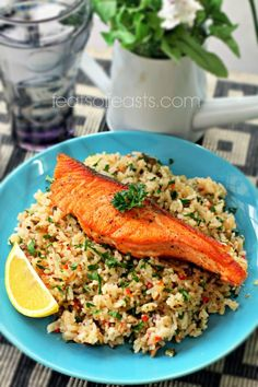 Butter Fried Rice with Pan-Seared Salmon | Feats of Feasts | A Food Blog