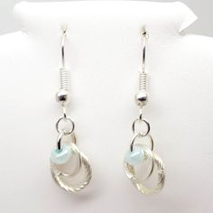 Auras - artistic wire earrings, silver plated wire with glass beads, handmade with all new materials
