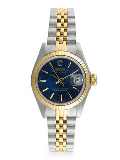 54edfcd5758 Rolex Oyster Perpetual Datejust Two-Tone & Blue Dial Watch, 26mm by Rolex  at Gilt
