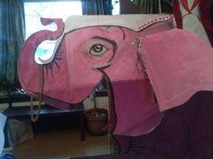 pink circus elephant - work in progress. detail.
