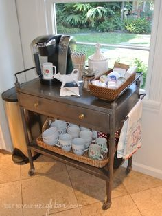 Using a tea cart for a coffee station is a super idea! Portable Feast - Coffee Bar Plans - 15 Coffee Bars to Perk Up Your Home Design - Bob Vila - Bob Vila Coffee Nook, Coffee Bar Home, Home Coffee Stations, Coffee Carts, Coffee Corner, Coffe Bar, Coffee Mugs, Coffee Maker, Coffee Bar Ideas