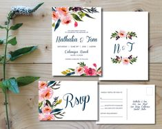 Printable Wedding Invitation Set | Wedding Invitation + RSVP postcard |  Watercolor, modern, floral, botanical, bohemian, pink | Nathalia