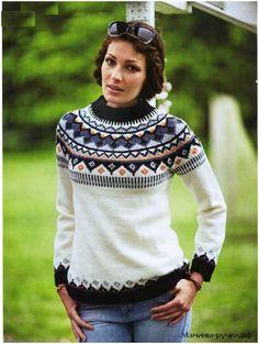 Вязаный спицами пуловер с круглой жаккардовой кокеткой. Схемы и описание - Модели спицами для нас красивых - Мамины ручки