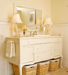 I subscribe to Better Homes & Gardens emails and this one just came in!  The owner bought the antique sideboard and converted it into a vanity, hardwired the lights and installed a sink and towel bar.  If I had a bed and breakfast...
