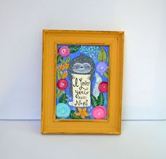 I Love You and Naps 5 x 7 Original Colorful Sloth Painting in by 3BearsStudio ... who doesn't love a sloth and naps?!