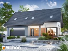 gotowy projekt Dom w jabłonkach 15 Modern Bungalow House, New Homes, Exterior, House Design, Outdoor Decor, Houses, Home Decor, Projects, Homes