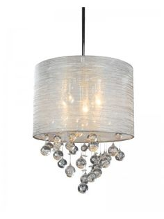 crystals round canopy silver textured silk living room pendant lighting - Cyan Canopy Interior
