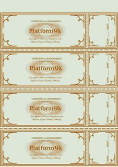 Harry Potter Party ~ Free Hogwarts Express Ticket Template plus links to… Harry Potter World, Harry Potter Motto Party, Harry Potter Fiesta, Magia Harry Potter, Harry Potter Bricolage, Harry Potter Thema, Classe Harry Potter, Estilo Harry Potter, Cumpleaños Harry Potter