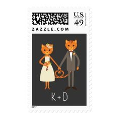 Rustic Boho Forest Cats Wedding Invitation Postage