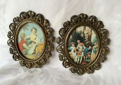 SHABBY Chic Florentine Floral Pictures in Vintage Gilded Ornate Oval Italian Style Metal Frame by StudioVintage on Etsy