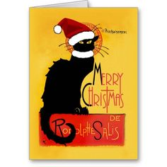 Merry Christmas - Chat Noir Greeting Cards by #SpoofingTheArts #lechatnoir #gravityx9 #christmascard