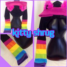 Pawstar Rainbow Kitty Fleece Cat Shrug Jacket Bolero Anime Cosplay... ($72) ❤ liked on Polyvore featuring outerwear, jackets, red, women's clothing, red fleece jacket, red jacket, hooded fleece jacket, gothic jackets and bolero shrug jacket