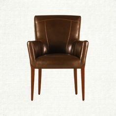 Colette Brown Arm Dining Chair ARHAUS 549 Comes In Ivory Black Choc Leather