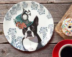 Bone china placa placa de perro salchicha Dachshund por LoopyLolly