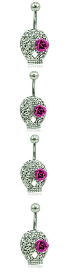 Skull Rose Belly Peircing Button Navel Ring! Click The Image To Buy It Now or Tag Someone You Want To Buy This For. #PunkStyle