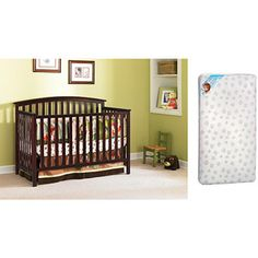 Graco Freeport 4-in-1 Fixed-Side Crib in Classic Cherry with Bonus Kolcraft Crib Mattress