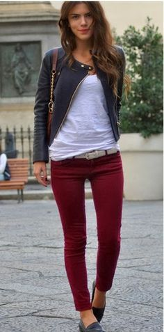 Red jeans with white T-shirt and black jacket