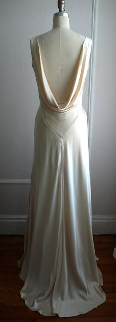 "1930s Draped V Neck Art Deco bias cut silk charmeuse retro wedding gown, Champagne, ""Mila"" gown, Low back, backless, customizable. $1,328.00, via Etsy."