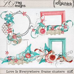 The Digichick :: Element Packs :: Love Is Everywhere: Cluster Frames