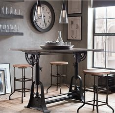 RH's 1910 American Trestle Drafting Table:Like those of the early century, our drafting table is crafted of cast iron topped with a broad wooden… Simple Fireplace, Modern Fireplace, Stone Fireplace Designs, Adjustable Height Table, Industrial Table, Industrial Furniture, Industrial Drafting Tables, Vintage Industrial, Home Hardware