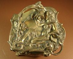 Semi Nude Repousse Art Nouveau Jewelry Casket // Antique WB Ormolu Dresser Wedding Box