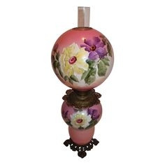 """Museum Quality HUGE Gone with the Wind Oil Banquet Lamp ~RARE 12"""" SHADE~ Breathtaking BEAUTY WITH HAND PAINTED FLOWERS ~ Outstanding Fancy Ornate Handled Font Spill Ring and Base~ Original Condition ~Original Parts ~ Collector Piece"""