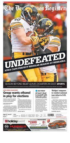 Des Moines Register 11/28/15. Iowa Hawkeyes undefeated in regular season!