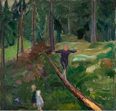 Children in the Forest   -   Bernhard D. Folkestad    Norwegian-British   1879-1933  oil on canvas