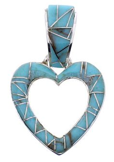 Turquoise Inlay Jewelry Sterling Silver Heart Pendant MW69438 http://www.silvertribe.com