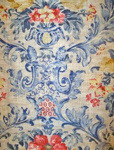 Pierre Deux Fabrics | PIERRE DEUX SORIANO French County Toile Fabric 10 yards Federal Blue ...