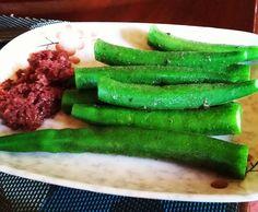 Steamed Okra with Bagoong!  #learnwdmom #okra  #veggies  #shrimppaste