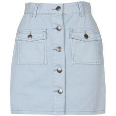 A-line Blue Buttoned Denim Skirt (260 BRL) ❤ liked on Polyvore featuring skirts, юбки, bottoms, faldas, saias, high waisted knee length skirt, high-waisted skirts, a line denim skirt, a line skirt and blue denim skirt