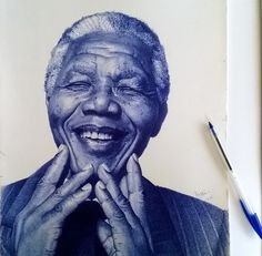 Ghana-based artist Enam Bosokah captures incredible likenesses using only a blue ballpoint pen. The stunningly-realistic portrait drawings depict world leaders, writers, as well as children and couples. Biro Art, Ballpoint Pen Drawing, Stylo Art, Caricatures, Pen Illustration, African Artists, Drawing People, Art World, Art Drawings