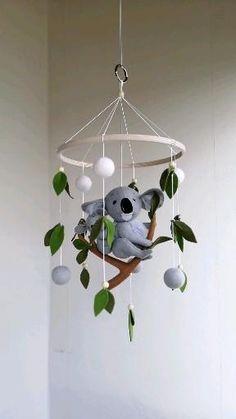 Koala baby mobile / Koala nursery decor / Woodland baby crib mobile / Mobile for boy and girl / Safari modern mobile Baby Cribs, Baby Boy Rooms, Baby Boy Nurseries, Baby Boys, Baby Girl Names, Boy Names, Baby Mobile Felt, Baby Crib Mobile, Felt Baby