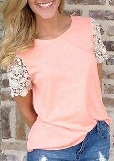 Stylish Round Collar Short Sleeve Spliced Cut Out Women's T-Shirt
