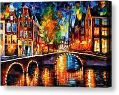 The Bridges Of Amsterdam Painting by Leonid Afremov - The Bridges Of Amsterdam Fine Art Prints and Posters for Sale