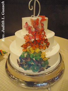 Wedding cake for two gals showing their gay pride.