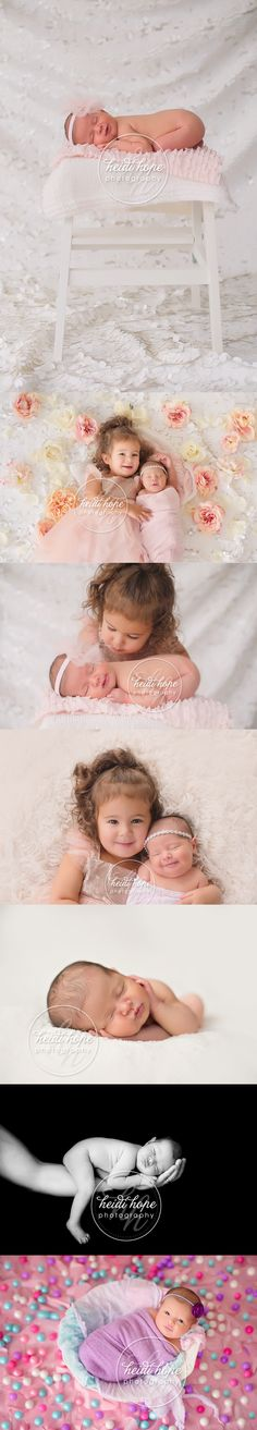 newborn sisters with flowers glitter and gumballs