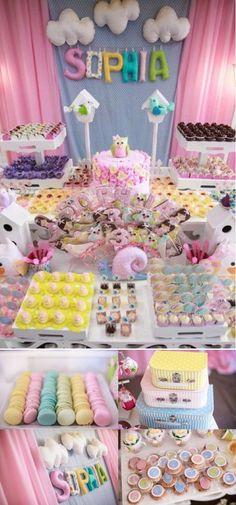 Pastel Woodland Garden Themed Birthday Party with SO many ideas!! Love the cute owls! Via Kara's Party Ideas KarasPartyI #woodland #party #theme #owl #birthday #party #shower #baby #idea | http://party-ideas-992.blogspot.com